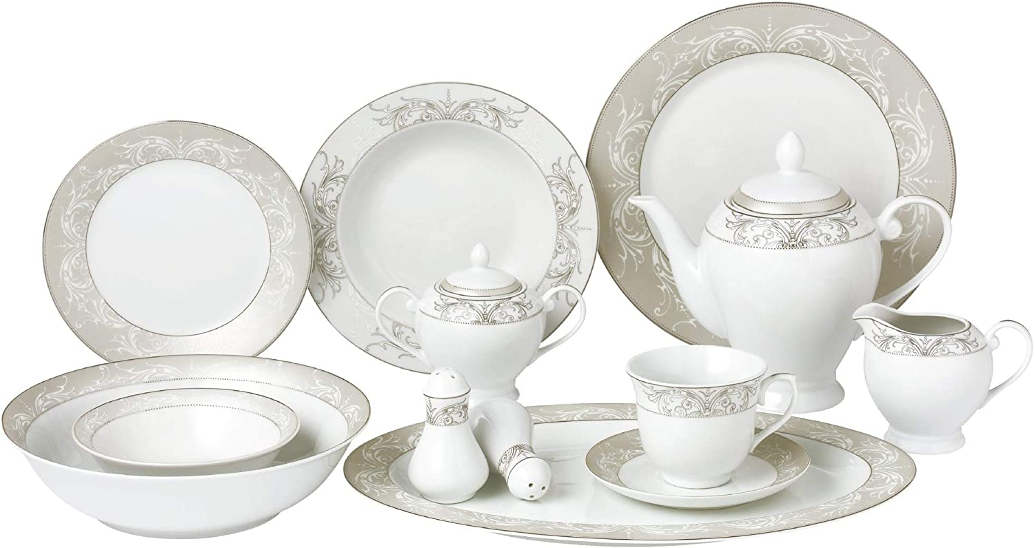 Lorren Home Trends Olympia-57 57 Piece Silver Border Porcelain Dinnerware Set-Service for 8-Olympia-Mix and Match, One Size, White