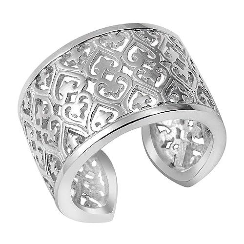bd42860e90ba MATERIA Joyería Plata 925 anillo de plata de acero inoxidable en forma de  estrella de ancho - con corazón de talla 52-60 tamaño ajustable  SR-49   Amazon.es  ...