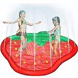 Litviz Splash Play Mat Pad for Kids, 65 Inch Strawberry Water Sprinkler Splash Pad for Wading, Summer Outdoor Swimming Pool T