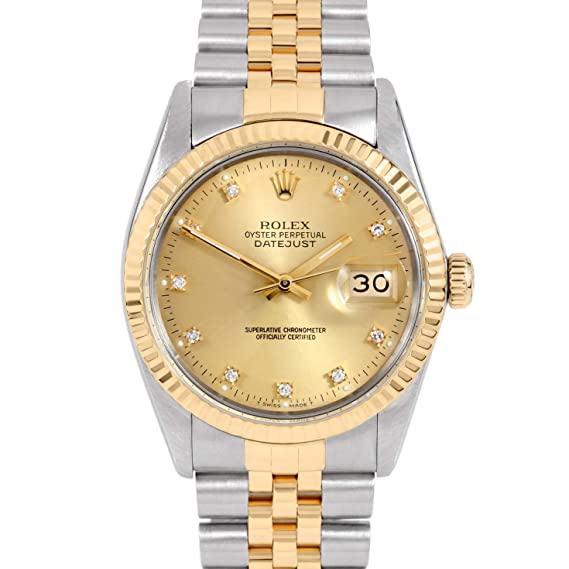 Rolex para hombre 36 mm inoxidable acero & amarillo oro Datejust swiss-automatic reloj –