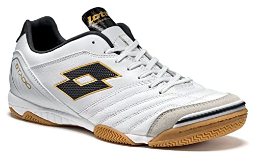 Lotto Stadio 300 ID - Scarpe Calcetto Uomo Indoor - Wht Gld Str - S9660   Amazon.it  Scarpe e borse 7057c2396a7