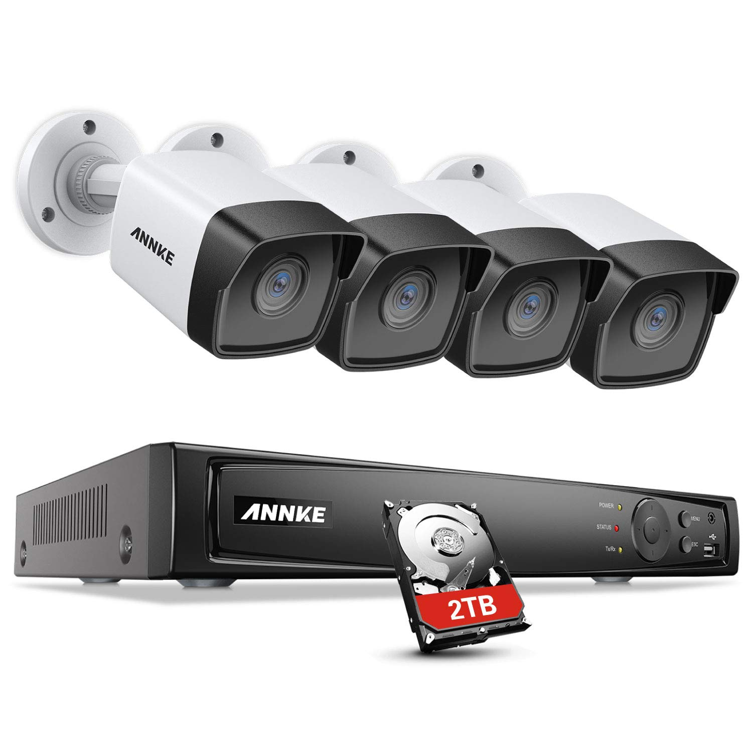 ANNKE 5MP PoE Home Security Camera System H.265+ 8CH Ultra HD 4K NVR, 4X 5MP Outdoor PoE IP Cameras, Starlight Color Night Vision, 2TB HDD for Long Time Recording, Support ONVIF Motion Detection