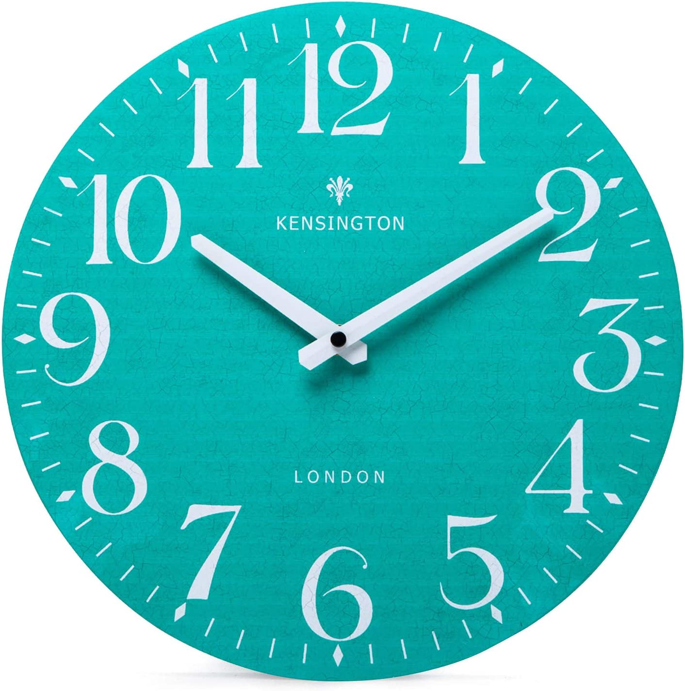 NIKKY HOME Teal Wall Clock Battery Operated 12 Inch - Silent Non Ticking Wooden Round Clock for Living Room Bedroom School Classroom