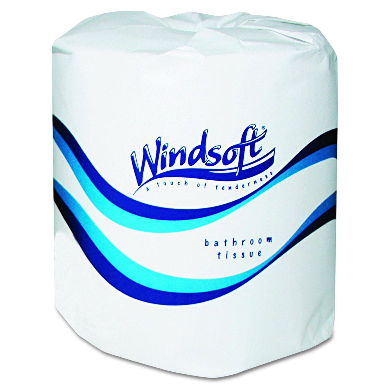 Windsoft 2400 Single Roll Two Ply Premium Bath Tissue (Case of 24 Rolls)