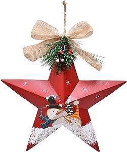 Kilipes Metal Star Barn Christmas Tree Ornaments 3D Star Barn Christmas Hanging Wall Decor Hand Painted Snowman Xmas Hanging Decoration Holiday Decor 12 inch (Red)