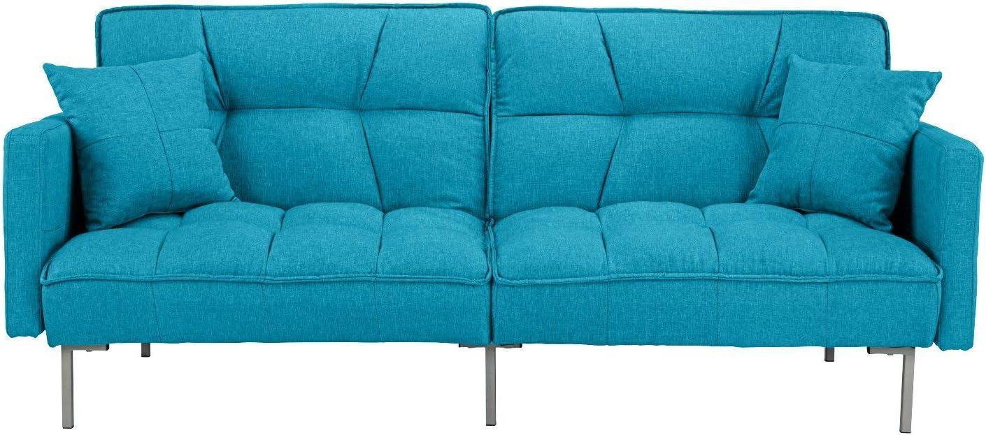 Divano Roma Furniture Collection Small Futon Light Blue Sofa