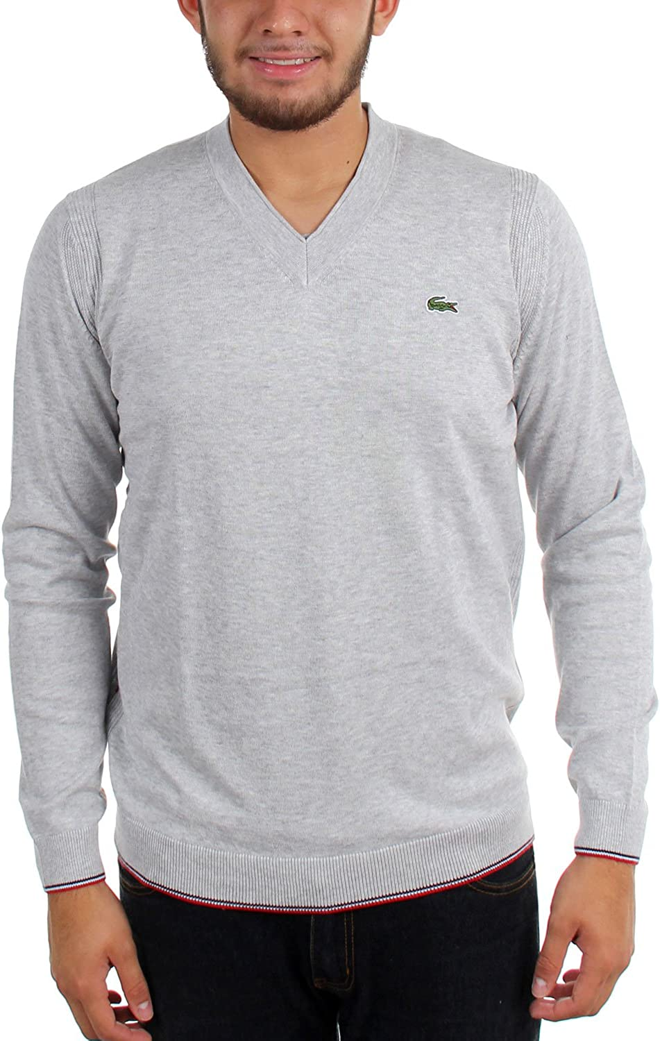 Lacoste Mens Mens Cotton Jersey V-Neck Sweater Pullover Sweater
