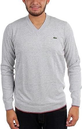 a82d6c482d Lacoste Men's L!VE Cotton Jersey Semi Fancy V-Neck Sweater Grey Chine/
