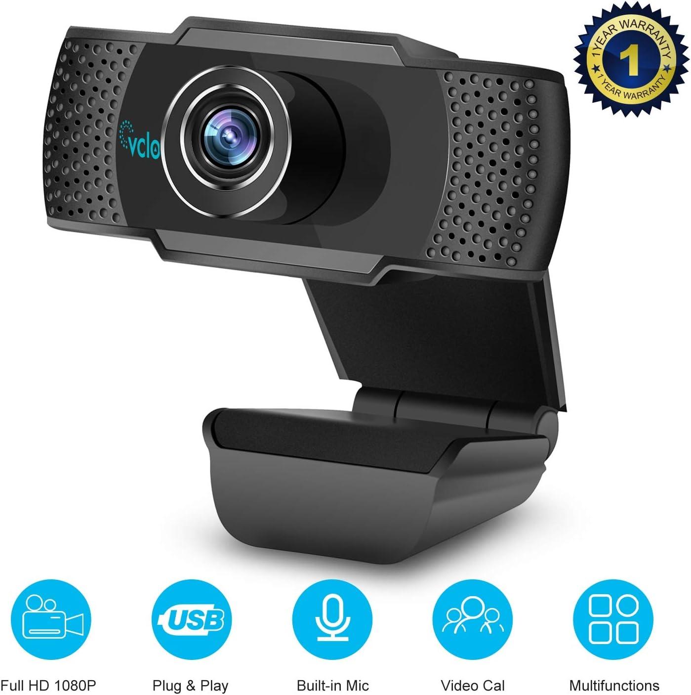 vcloo Cámara Web 1080P Full HD con Micrófono - Computadora Portátil PC Webcam de Escritorio USB 2.0 Webcam para videollamadas, Estudios, conferencias, grabación, Juegos con Clip Giratorio …