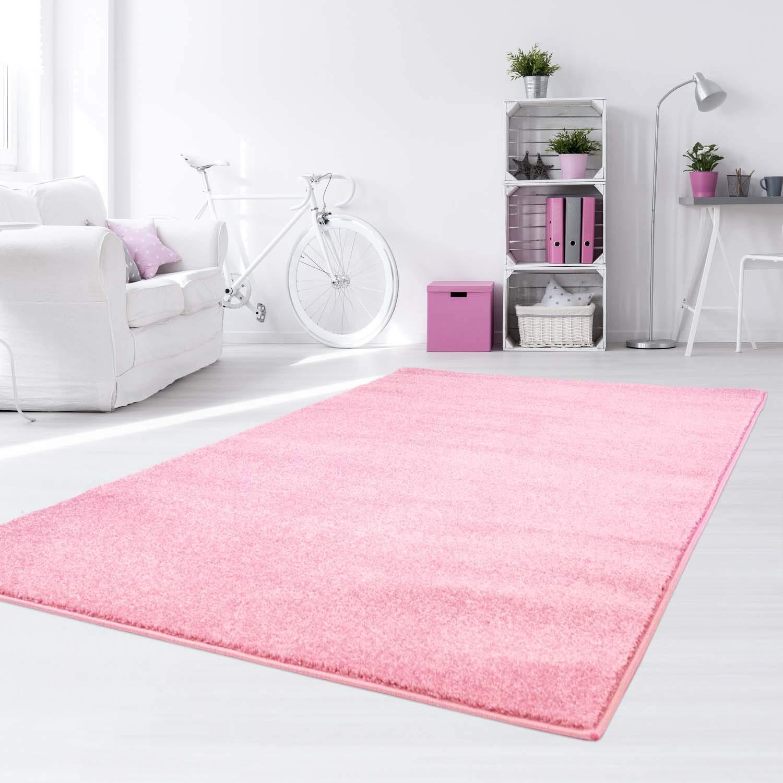Taracarpet Kinder Teppich für Das Kinderzimmer Bueno einfarbig Hochwertig mit Konturenschnitt Rosa Uni 200x290 cm