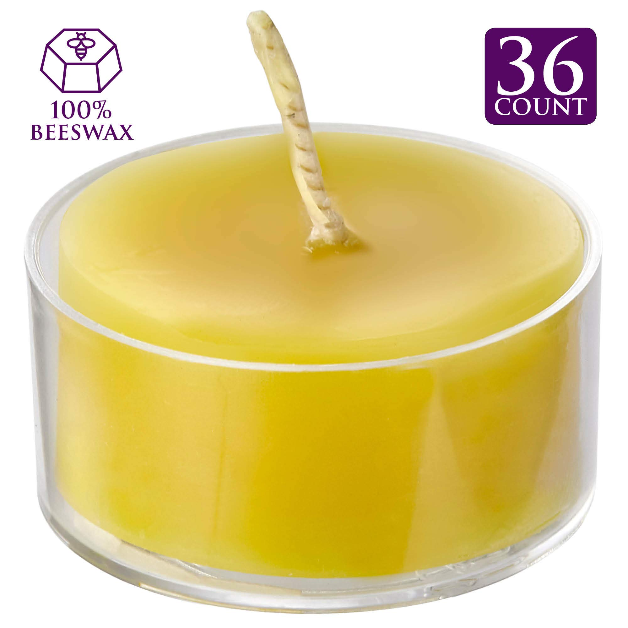 ELITE SELECTION Natural Beeswax Tea Light Candles - Bulk 36 Pack - 1.5'' Votive Candle in Clear Plastic Holder - Multipurpose for Home Décor, Special Events - Lightly Scented Organic Honey by ELITE SELECTION
