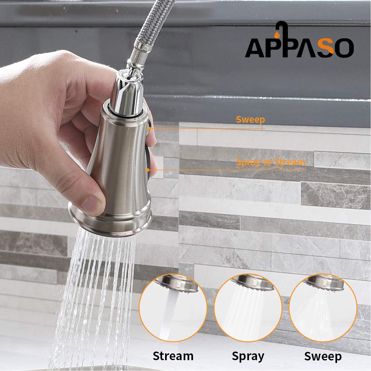 APPASO Single Handle Pull Down Kitchen Faucet with Sprayer, Stainless Steel Brushed Nickel High Arc Single Hole Pull Out Spray Head Kitchen Sink Faucet with Escutcheon by APPASO (Image #3)