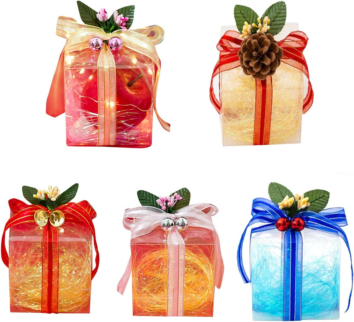 10 Set Treat Boxes with Ribbons and Decorations, Goodie Bag Party Favor Boxes Luxury Chocolate Candy Apple Case Candy Box with Shred Filler for Valentine's Day Wedding Festival