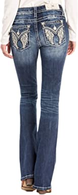 Miss Me Angel Wings Dark Wash Mid-Rise Boot Cut Jeans M3216B