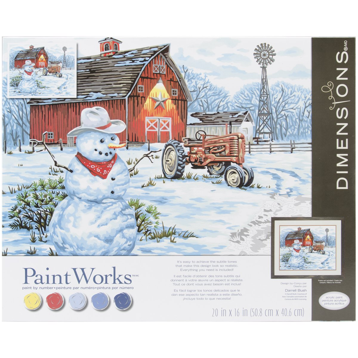 Dimensions Paint by Number Craft Kit, Country Snowman EKS 73-91434