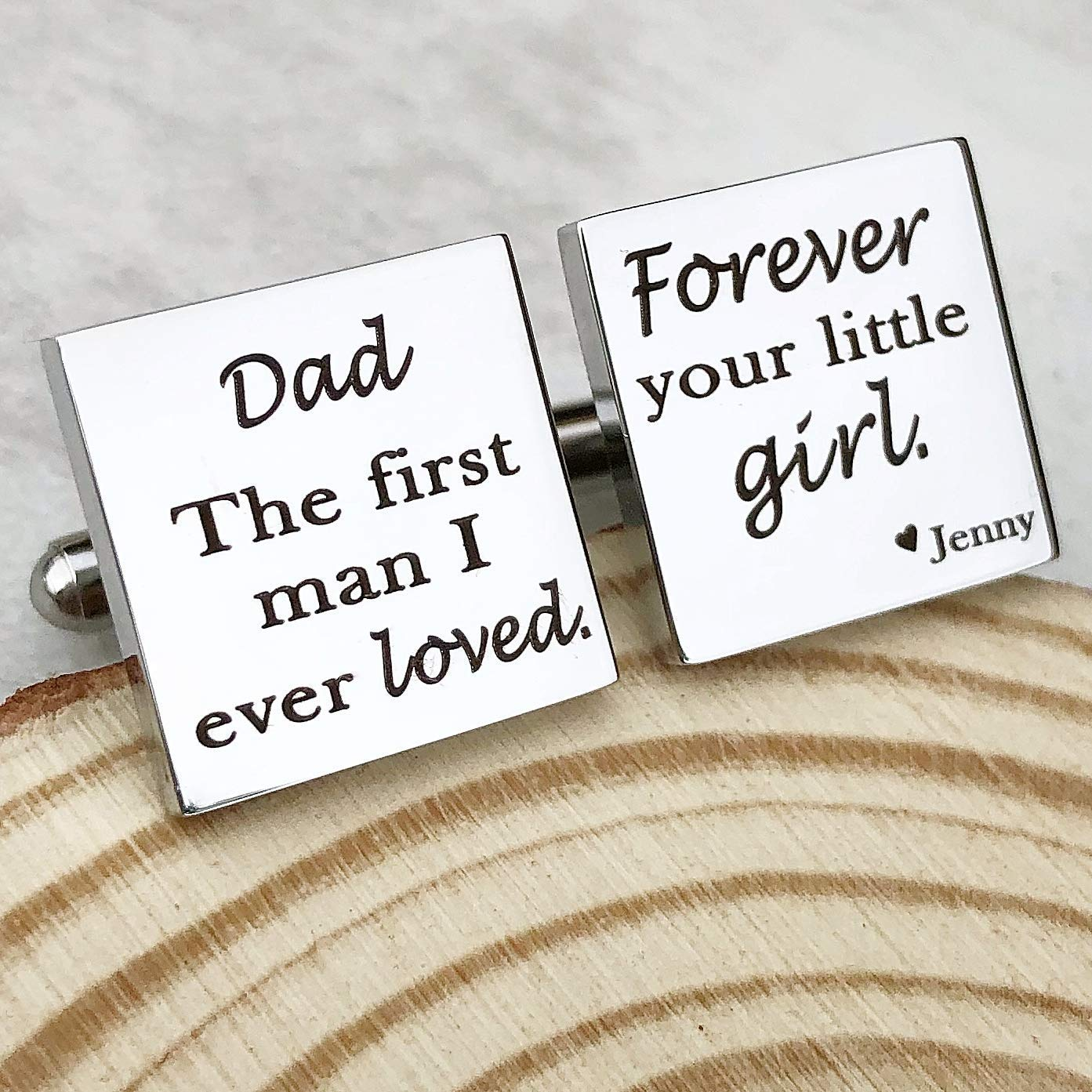 Forever Your Little Girl Personalized Wedding Cufflinks for Dad The First Man I Ever Loved