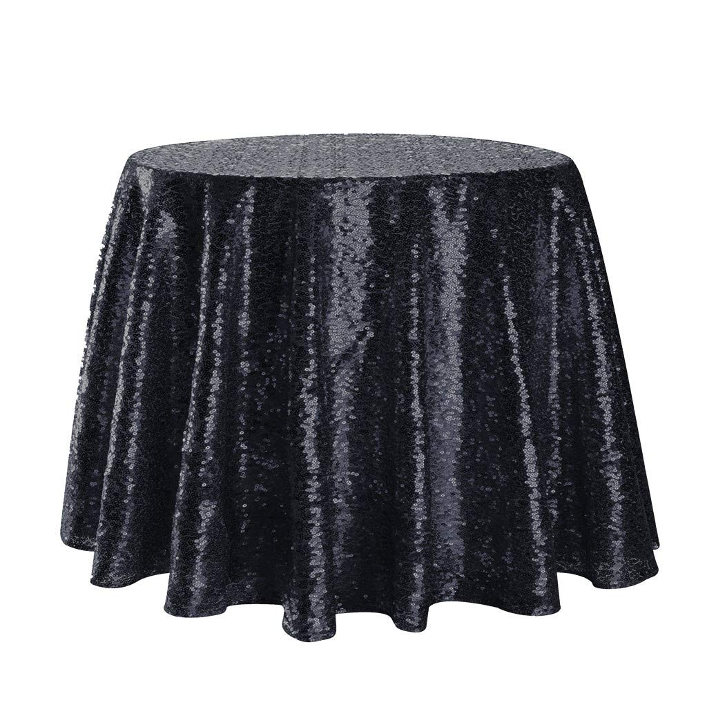 Jeeke Sparkle Round Tablecloth Shining Sequin Dining Table Cover Table Cloth for Wedding Banquets Party Decor, Black by Jeeke