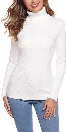 Aibrou Suéter de Cuello Alto para Mujer, Prendas de Punto de Manga Larga elásticas Suaves, livianas y sólidas Jersey con Raya de Diamantes