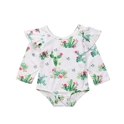 4c34d6eab Amazon.com: ViWorld Baby Girl Bodysuit Sweet Romper Cactus Ruffle Jumpsuit:  Clothing