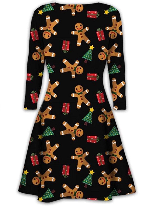Ladies Santa Gift Tree Bell Christmas Skater Dress Women Long Sleeve Swing Dress
