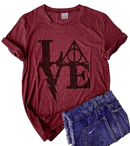 8d27bf54 Women's Love Letter Graphic Tshirt Short Sleeve Graphic Casual O-Neck Funny  Tops Tees (