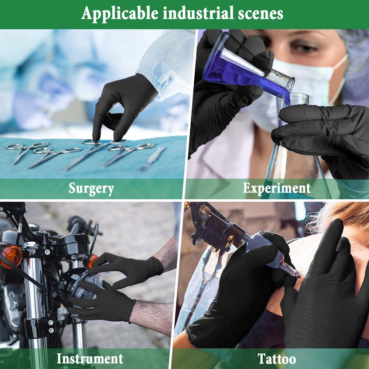 Black L Latex /& Powder Free Allergy Free Extra-Sensitive Gloves Smooth Gloves Cooking Cleaning Tattoo Mechanic Crafting Painting Boxed x100 Camfosy Nitrile Disposable Gloves Size S - XL