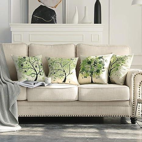 MIULEE Juego de 4 Lino Cojines Árbol Verde Funda de Cojín Almohada Caso de Decorativo Cojines para Sala de Estar sofá Cama Coche 18