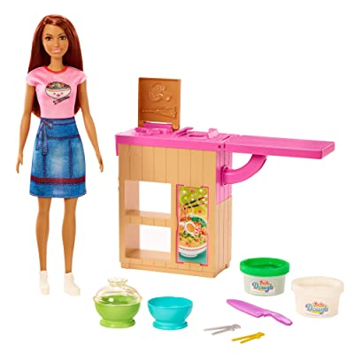 ​Barbie Noodle Bar Playset with Brunette Doll, Workstation, 2 White and Green Dough Containers, 2 Bowls, Play Knife and 2 Pairs of Chopsticks for Ages 4 and Up: Toys & Games