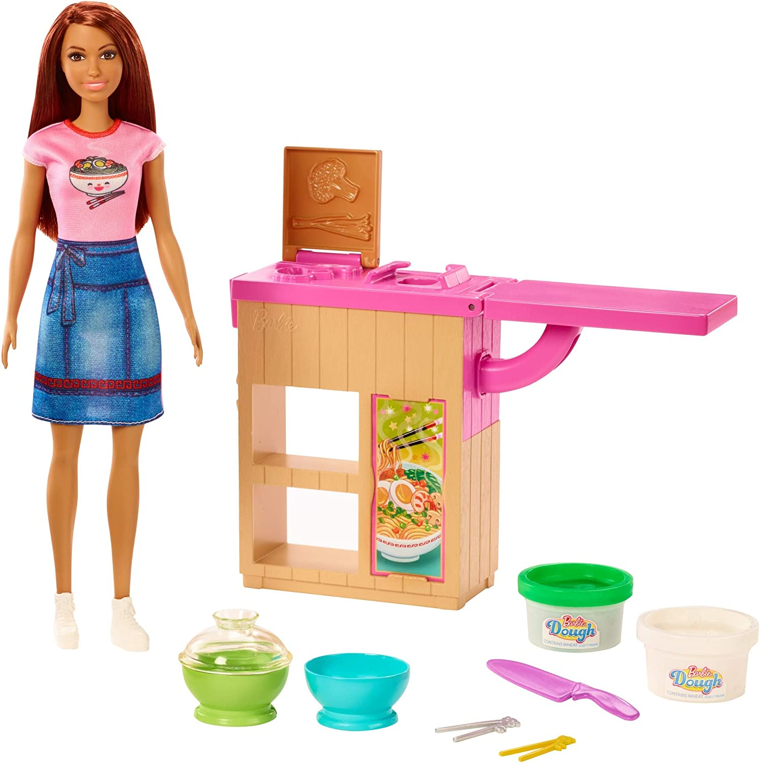 Barbie Noodle Bar Playset with Brunette Doll, Workstation, 2 White and Green Dough Containers, 2 Bowls, Play Knife and 2 Pairs of Chopsticks for Ages 4 and Up