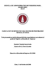 Fabricación de repuestos para equipos de perforación manual en minas (Spanish Edition)