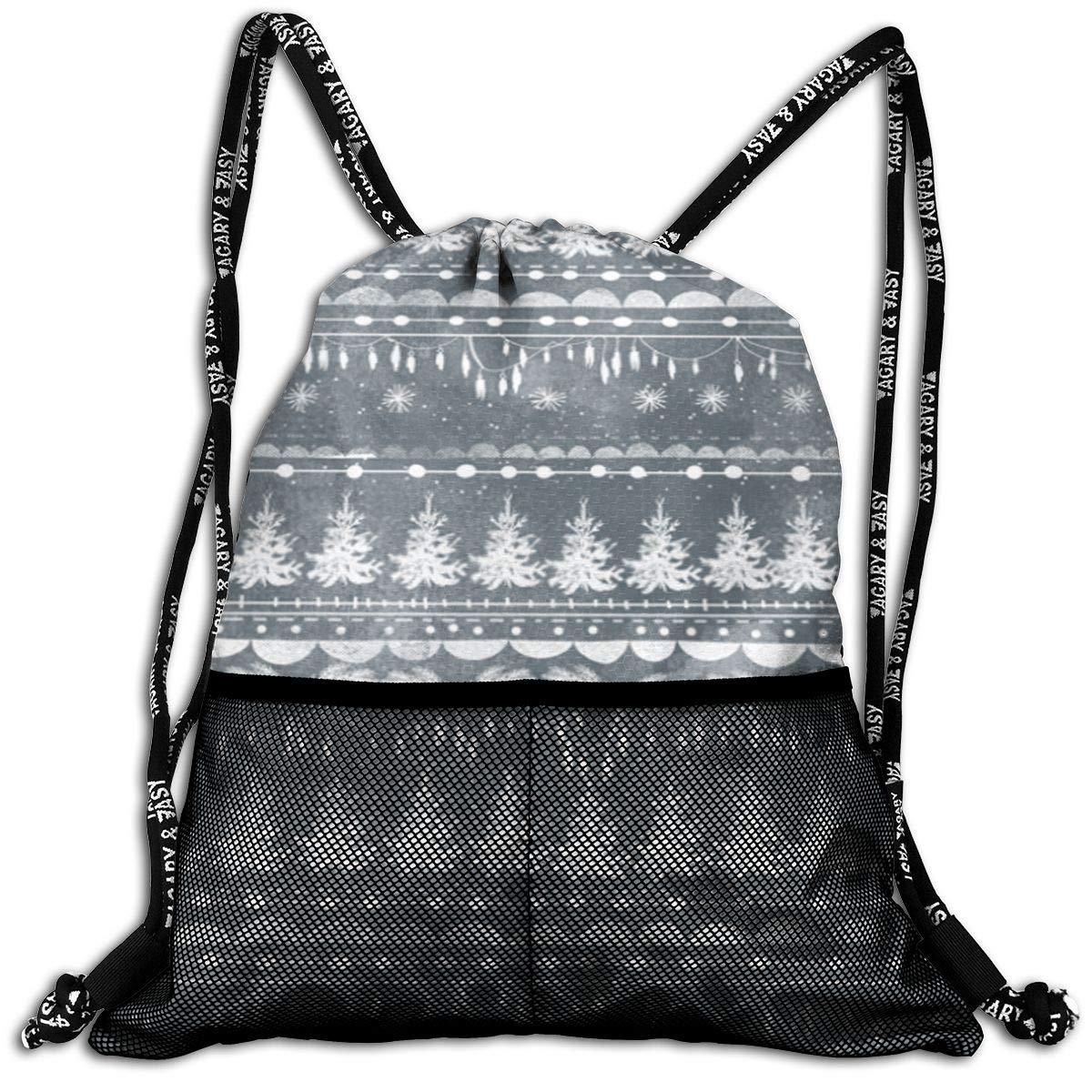 Vintage Christmas Stripe Durable Sport Drawstring Backpack for School Soccer Yoga