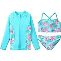 ZNYUNE Girls Rash Guard 3-Piece Swimsuit Set UPF 50+ UV Surfing Sunsuit Jacket+Bikini +Bottom Kids Summer Beach Bathing…