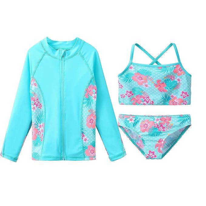 Amazon.com: ZNYUNE - Bañador de 3 piezas para niñas (UPF 50 ...