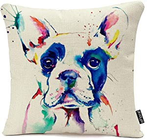 Decorative Watercolor Art Dog Square Throw Pillow Cases Protectors Cushion Covers for Sofa Home Decor 18 X 18 Inches Pillow Covers