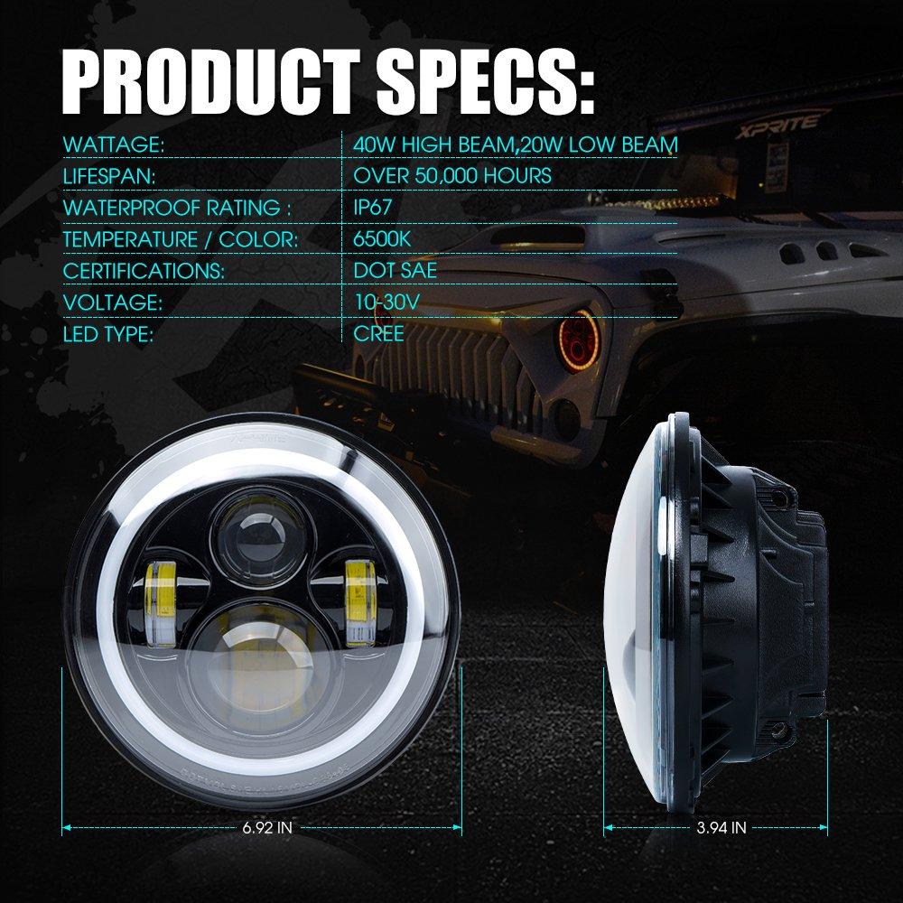 Xprite 7 Inch Bluetooth Rgb Led Headlights For Jeep Wrangler Jk Tj Halo Headlight Wiring Diagram Lj 1997 2018 W Ring Drl And Turn Signal Function Cree Chip 90w 5400 Lumens