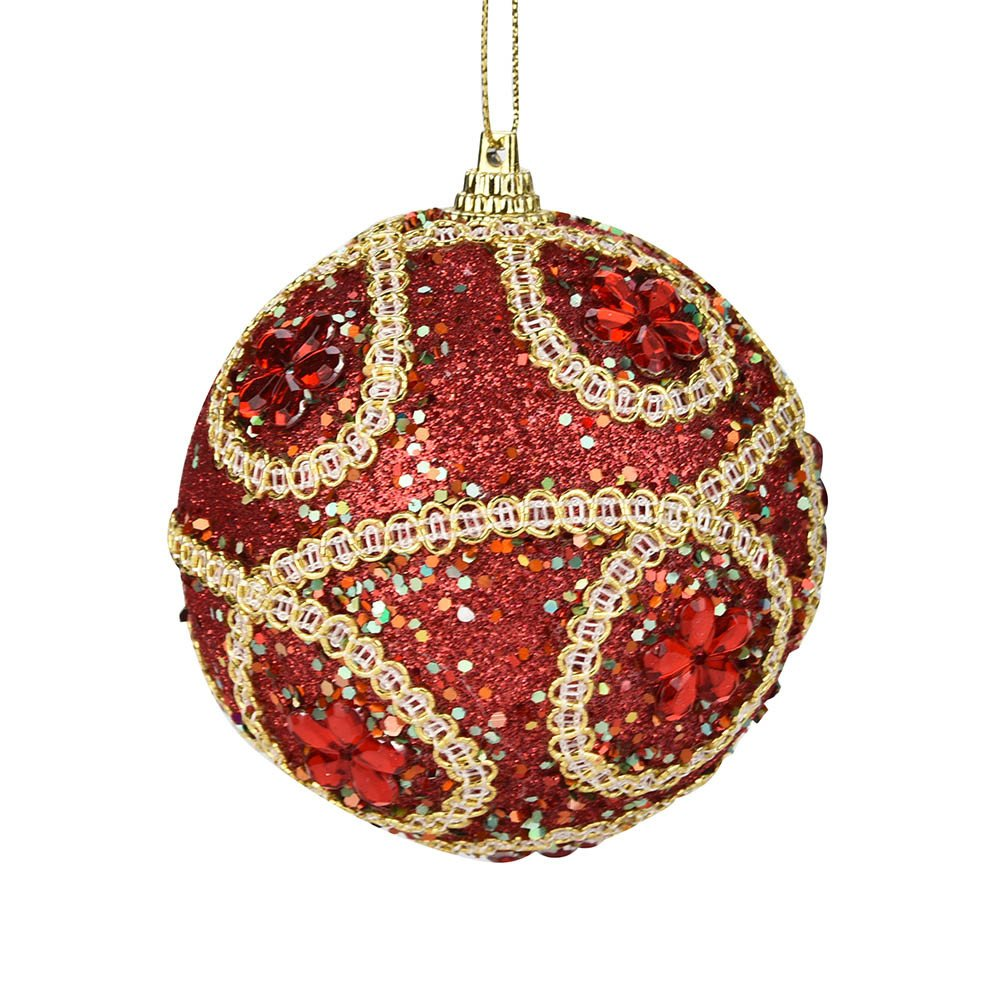 Kimanli Christmas Glitter High Grade Balls Party Ornaments Christmas Tree Hanging Decor Gifts Hot ! (Red)