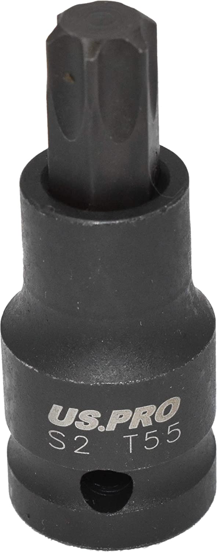 "US PRO T55 x 53mm 1//2/"" Drive Short Impact Impacted Torx Star Male Socket 3400"