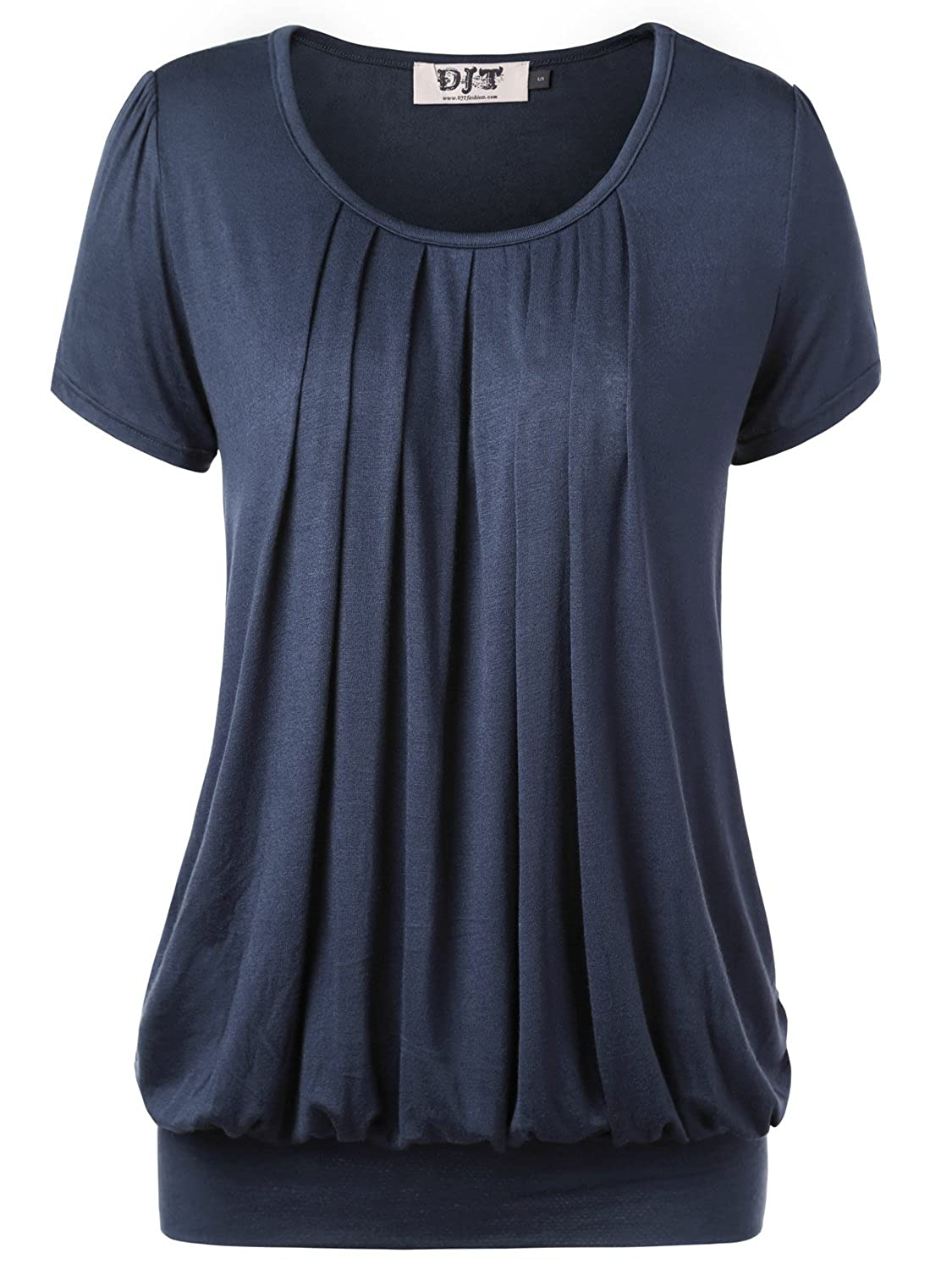 Navy DJT Womens Short Sleeve Pleated Front Blouse Tunic Top