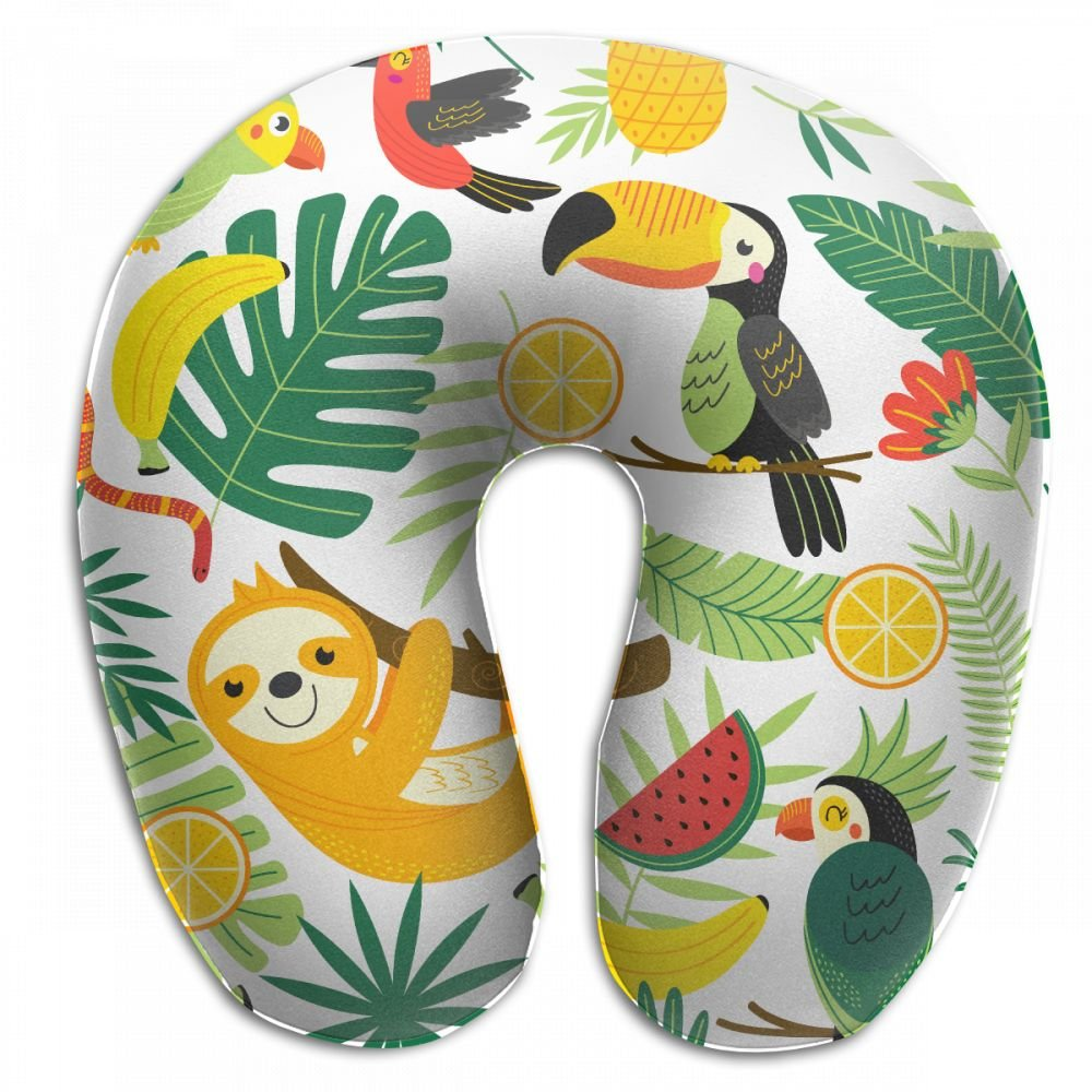 Raglan Carnegie Tropical Animals Sloth Pineapple Neck Head Support Travel Rest U Shaped Pillow for Airplane Train Car Bus Office