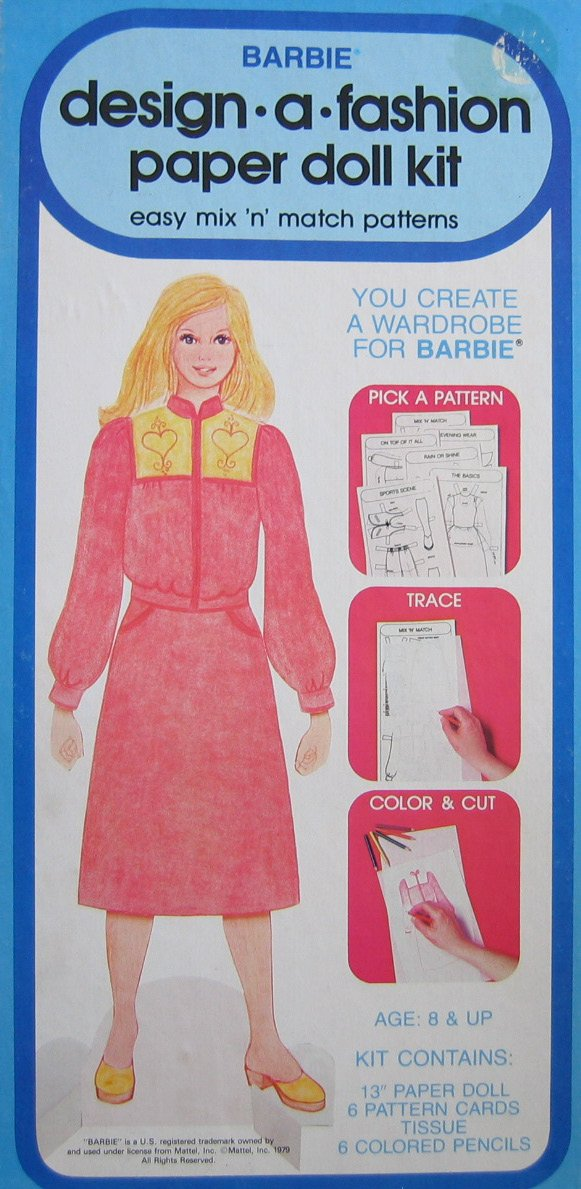 Barbie Design -A- Fashion Paper Doll Kit - Easy Mix 'N' Match Patterns (1979 Western Publishing) by Barbie (Image #1)