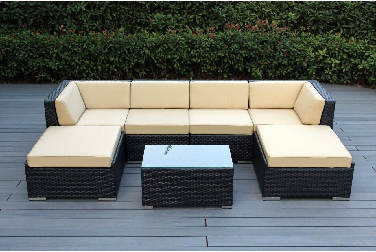 Ohana Outdoor Patio Wicker Furniture Sectional Conversation 7pc Sofa Set (Sunbrella Beige)