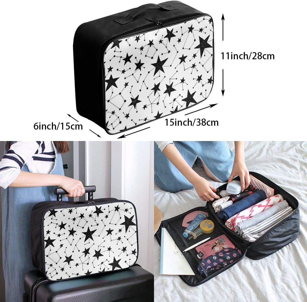 Yunshm Black And White Background Stars Customized Trolley Handbag Waterproof Unisex Large Capacity For Business Travel Storage