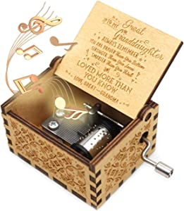 ukebobo Wooden Music Box- You are My Sunshine Music Box, from Great Grandpa to Great Granddaughter, Gifts for Kids - 1 Set