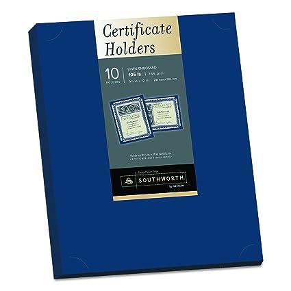 Amazon.com : Southworth Certificate Holder, 9.5 x 12, 105 lb, Navy ...