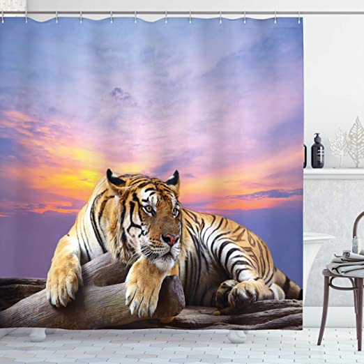 Tiger Mouth Waterproof Bathroom Polyester Shower Curtain Liner Water Resistant