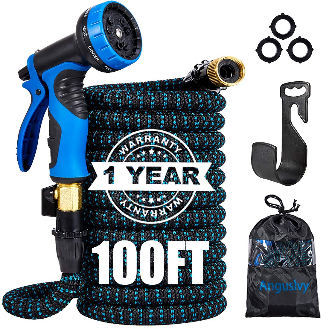 "Garden Hose 50FT/100FT Expandable Water Hose with Durable 3-Layers Latex,3/4""Solid Brass Connectors,Flexible Leakproof Hose with 9 Function Spray Nozzle&Plastic Holder for Watering/Washing"