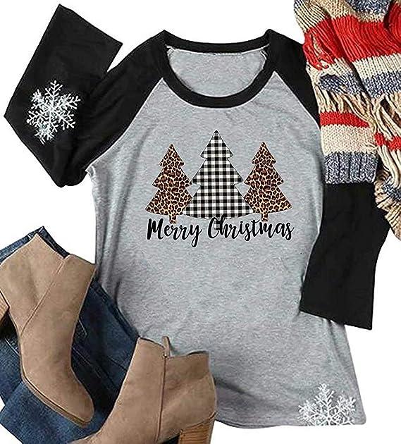 Amazon.com  Merry Christmas Leopard Plaid Tree Tee Shirts Women Christmas  3 4 Sleeve Graphic Raglan Baseball Tee Shirt Top Plus Size  Clothing 50932778a