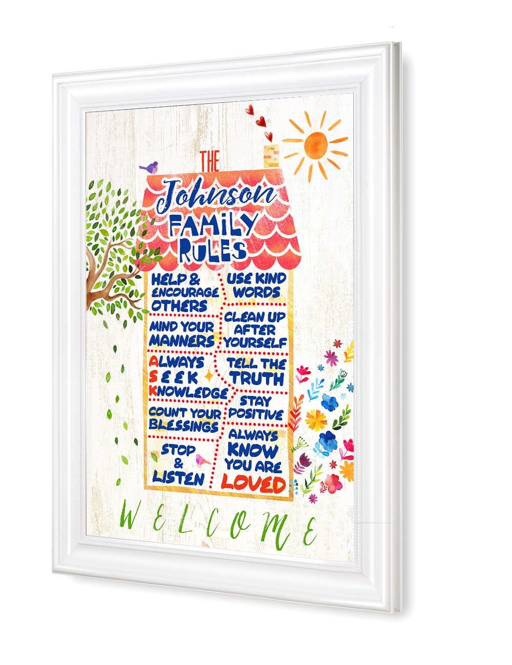 IPIC - ''Our Family Rules'' Personalized Framed Artwork for Home, Housewarming, Childrens' rooms; Picture size: 30x20'', Framed Size: 33x23x1.25''