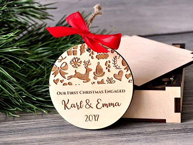 Amazon.com: Engagement Gifts for Couple Our First Christmas Engaged ...