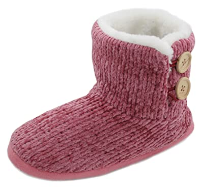 LADIES COMFY FAUX FUR BED SHOES WOMENS WARM FIRM ANKLE SLIPPERS BOOTIES SIZE 3-8